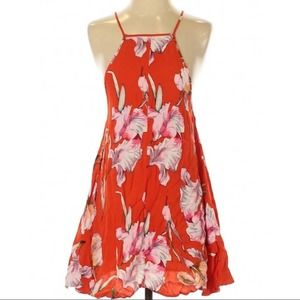 MINKPINK red floral sleeveless print trapeze dress